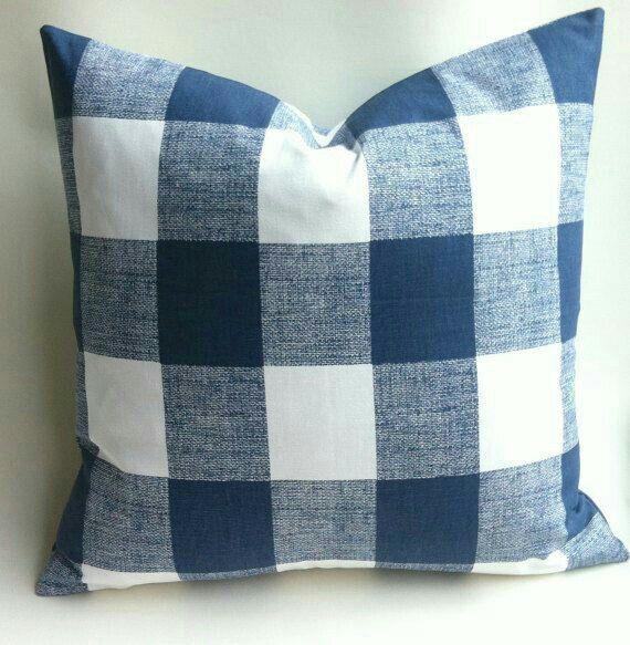 Blue check pillow