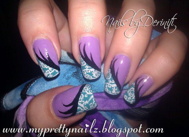 My Pretty Nailz: Fun Floral Purple and Teal Nail Art Design and Video Tutorial - fun nail art, cute nail art, easy nail art, nail stamping tutorial, edgy nail art, urban nail art, exotic nail art, simple nail art, flower nail art, paisley nail art, funky nail art