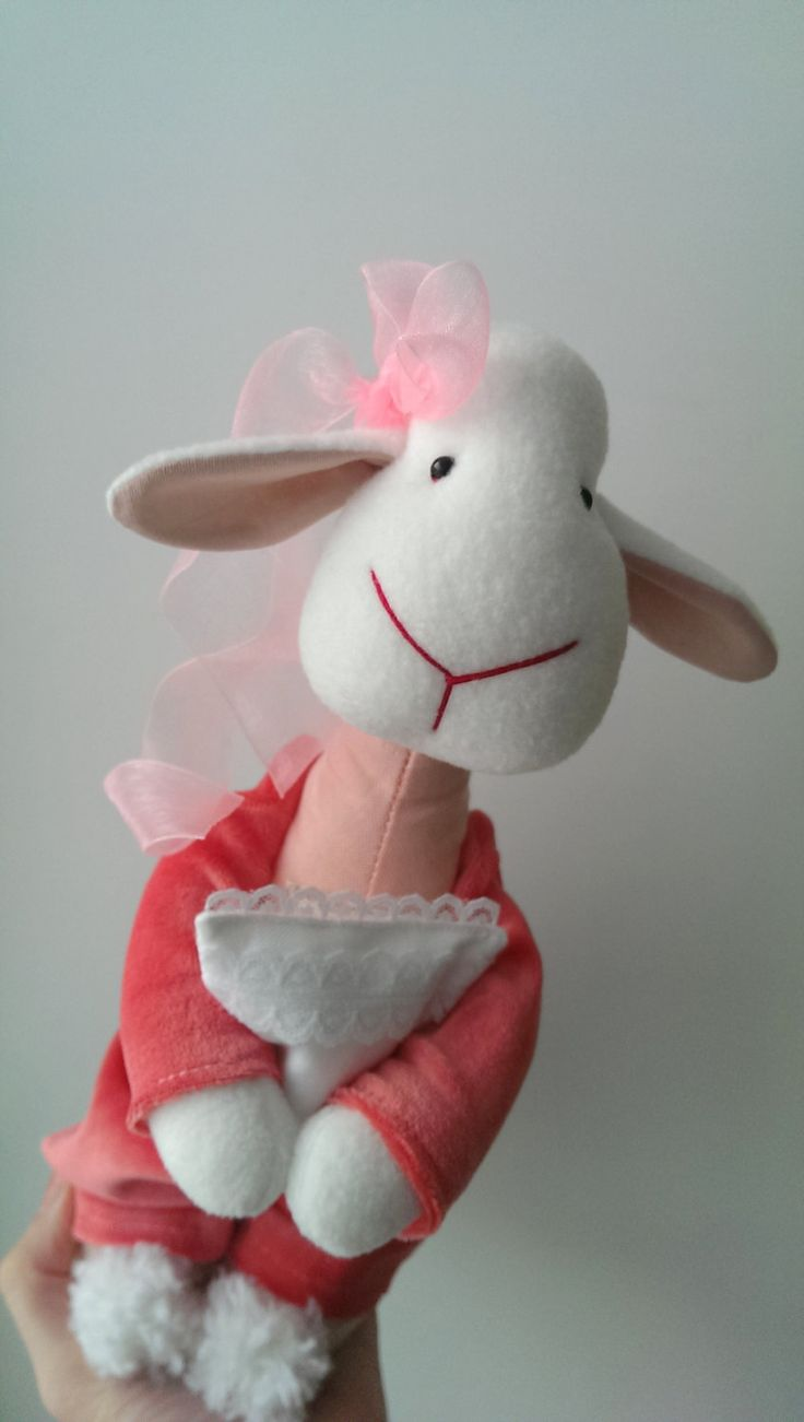 Soft Toy Lamb Bedroom Coral Pink Gift for girls Baby Pajamas Pillow Dreams Nursery Sheep by KotOmkaRU on Etsy
