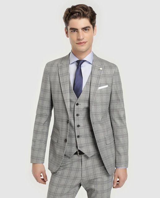 c6184db98 Americký oblek muž Mladý vzorec štíhlá šedá s velšskými malbami ...
