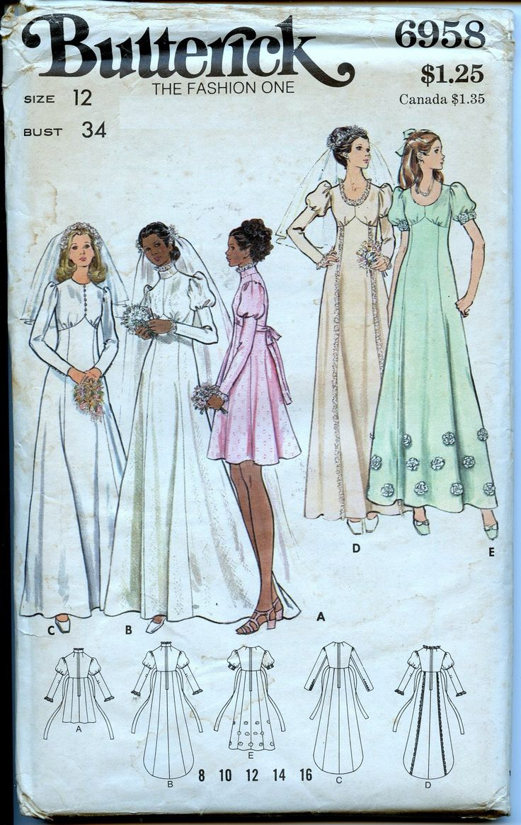 1970s Butterick 6958 Misses Wedding Gown Bridesmaid Dress
