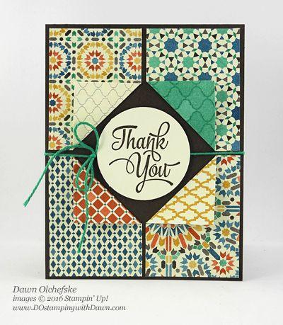 Stampin' Up! Moroccan Designer Series Paper 4-corner fold card by Dawn Olchefske #dostamping