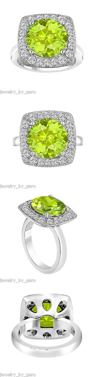 Gemstone 177020: 6.04 Carat Green Peridot And Diamond Engagement Ring 14K White Gold Halo Certified -> BUY IT NOW ONLY: $3485 on eBay!