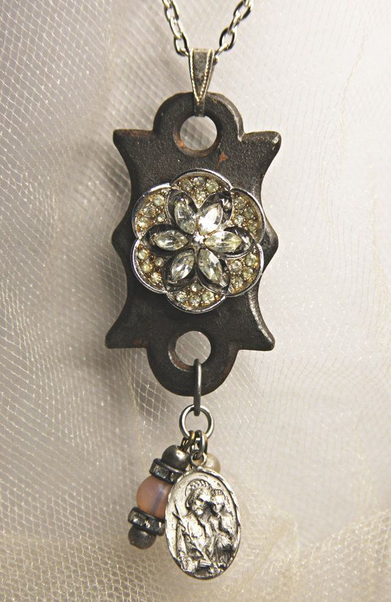 Vintage KEYHOLE Necklace- Rhinestone & Religious Charms- Escutcheon- Found…