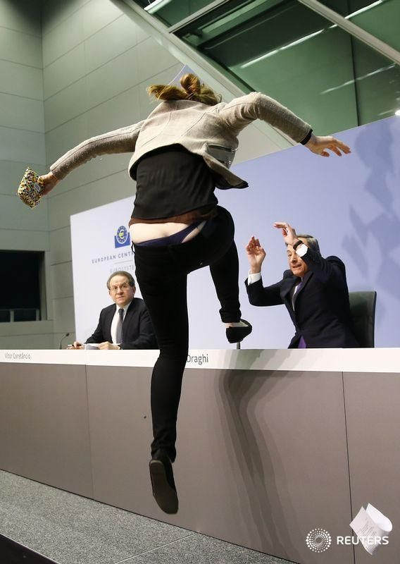 "ECB President Mario Draghi Attacked By Protester Screaming ""End ECB Dick-tatorship"" 