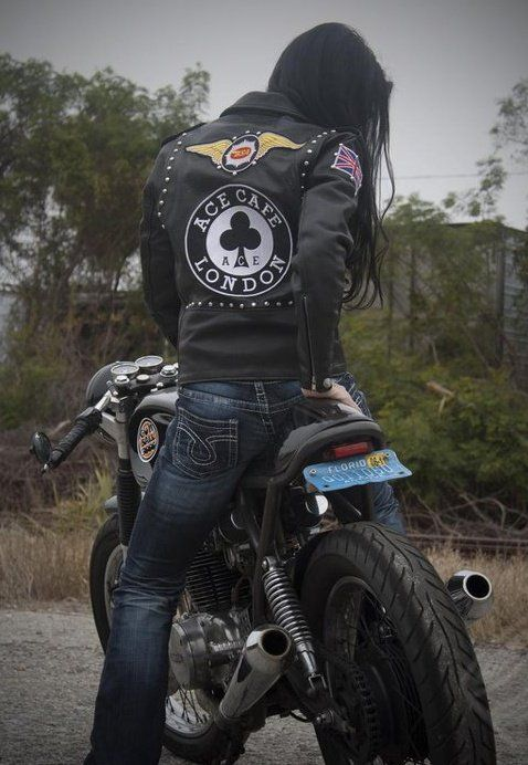 Cafe Racer Girls 009 ~ Return of the Cafe Racers - leather motorcycle sacket, studs, patches, UK Union Flag, Ace Cafe
