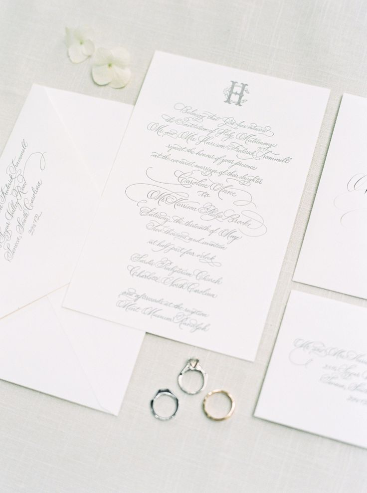 Classic southern wedding invitation calligraphy for North