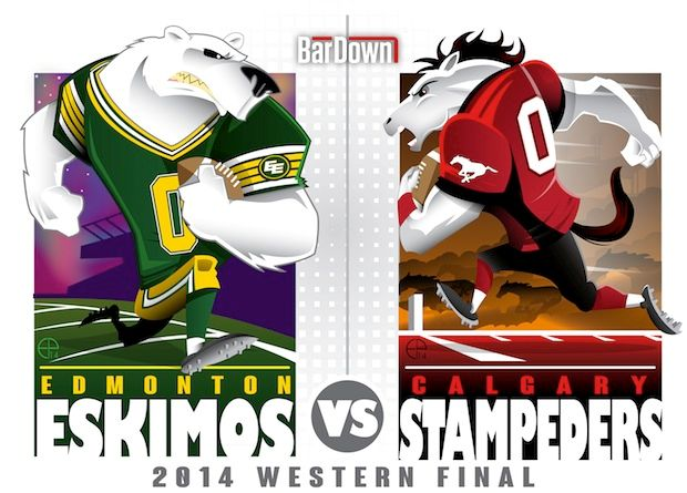 #EPoole88 (Eric Poole) is at it again, this time with the CFL. Here is his rendition of the Western Division final matchup between Calgary and Edmotnon.