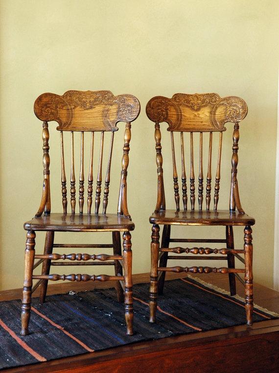Antique Amish press-back chairs • Check The Lancaster List for antique shops in Lancaster County, PA • www.thelancasterlist.com/antiques