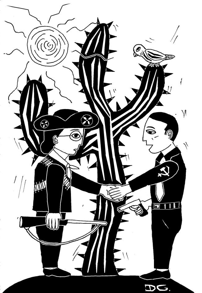 Lampião e Prestes - ilustração por Diego Gibran