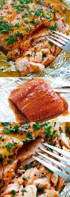 Spicy Honey Salmon  Foil baked salmon with honey dijon mustard and Asian chili-garlic sauce. Moist juicy and delicious recipe for busy weeknights | rasamalaysia.com