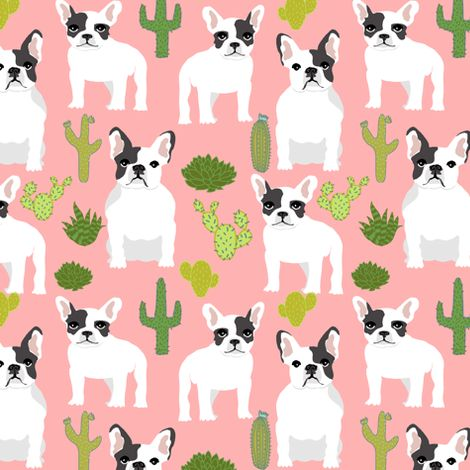 frenchies french bulldog cactus cacti cute funny dogs dog fabric by petfriendly on Spoonflower - custom fabric