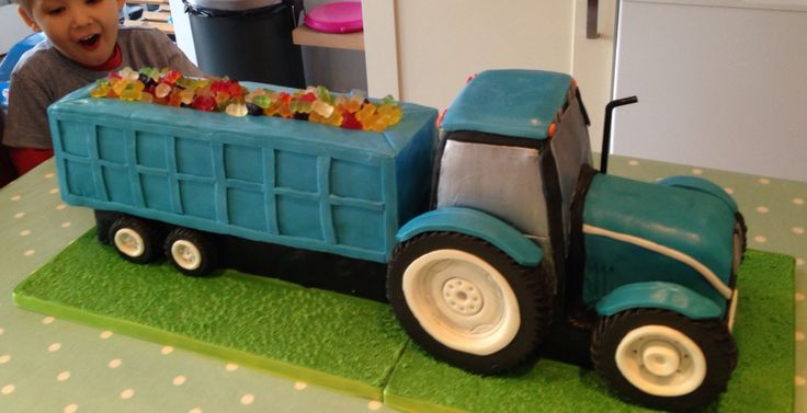 Tractor and trailer cake - exactly as the little monster requested!