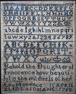 free cross stitch sampler patterns | Cross-stitch alphabet sampler worked by Elizabeth Laidman, 1760.