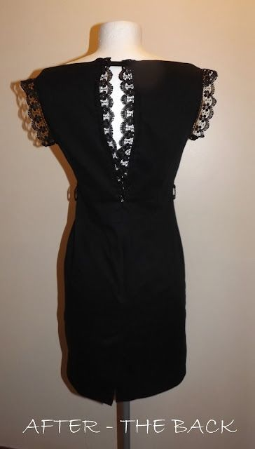 Making a too small dress bigger refashion. Lace at the back of a too-small bust on a dress. Genius!