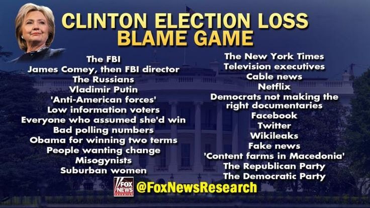 Hillary Clinton gave a formidable list of culprits for why she lost the 2016 presidential election.