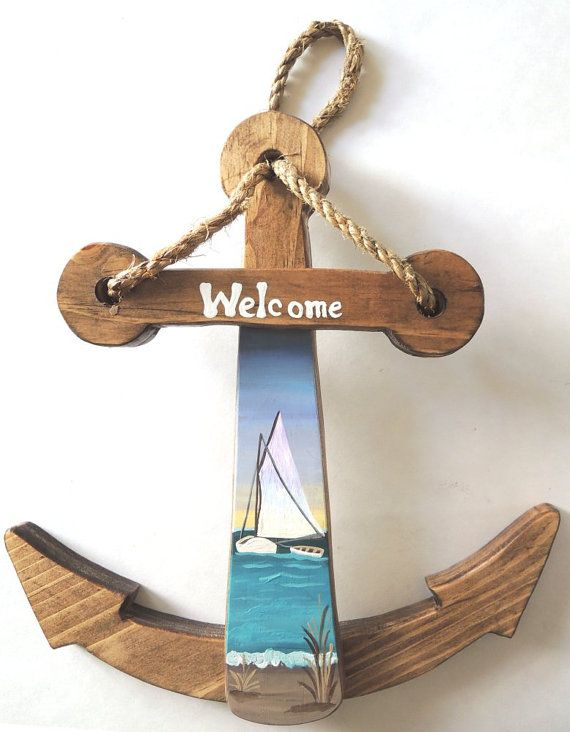 Handmade Wooden Anchor with Cape Lookout by WhatsInGrampasShack