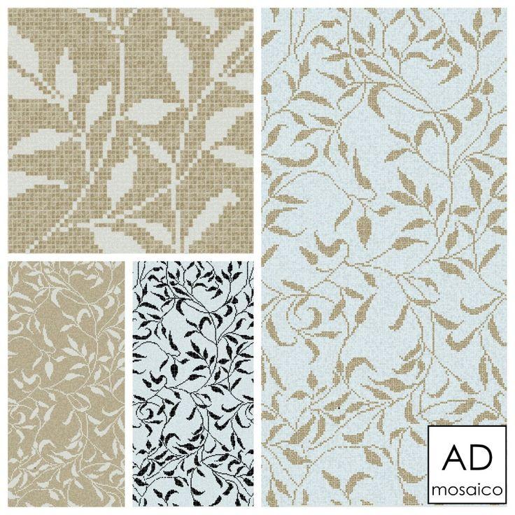 Decoro FOGLIE mosaico 10x10  tre proposte di colore  info@admosaico.com