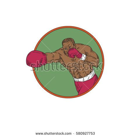 Drawing sketch style illustration of an african-american boxer doing a right hook punch set inside circle on isolated background.  #boxing #drawing #illustration