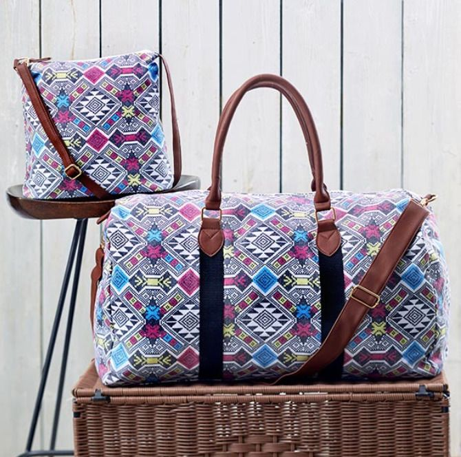 Overnight Duffel Bag and Purse Fabric Straps Colorful Womens Girls Luggage Set | Travel, Luggage | eBay!