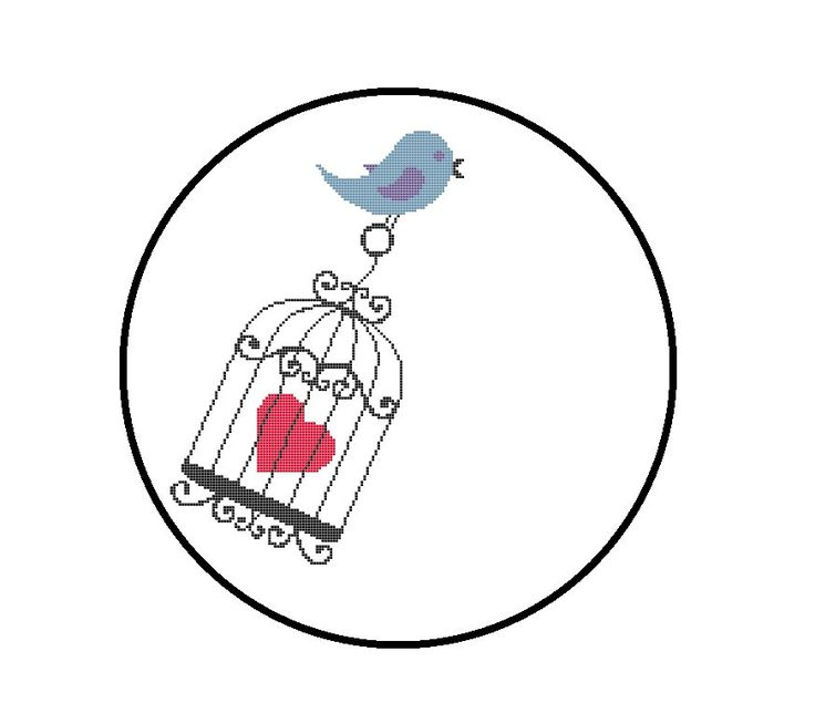 Cute Cross Stitch Pattern Bird Carrying Heart by CrossStitchDiva