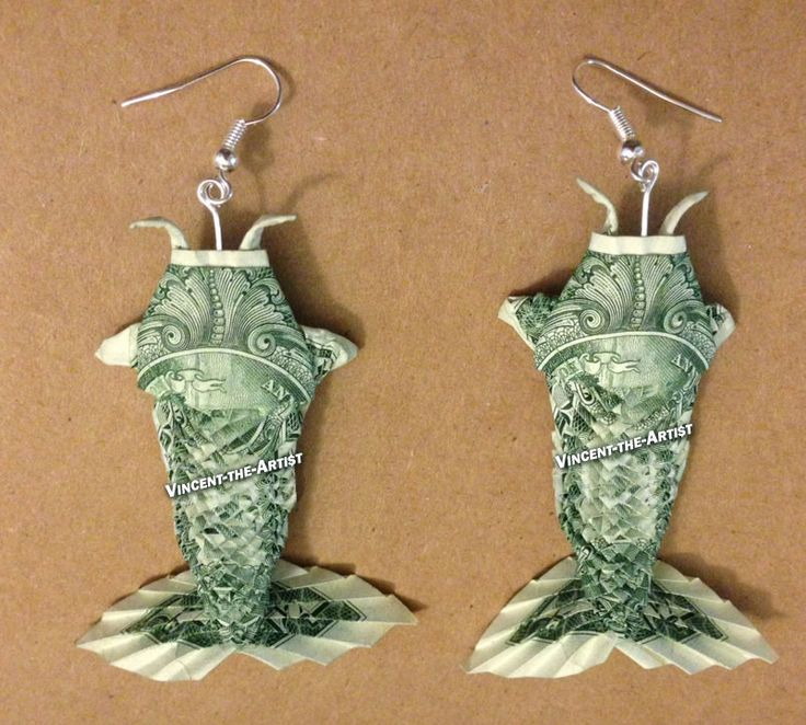 A Beautiful Handcrafted Money Origami Star Of David Earrings Made Of
