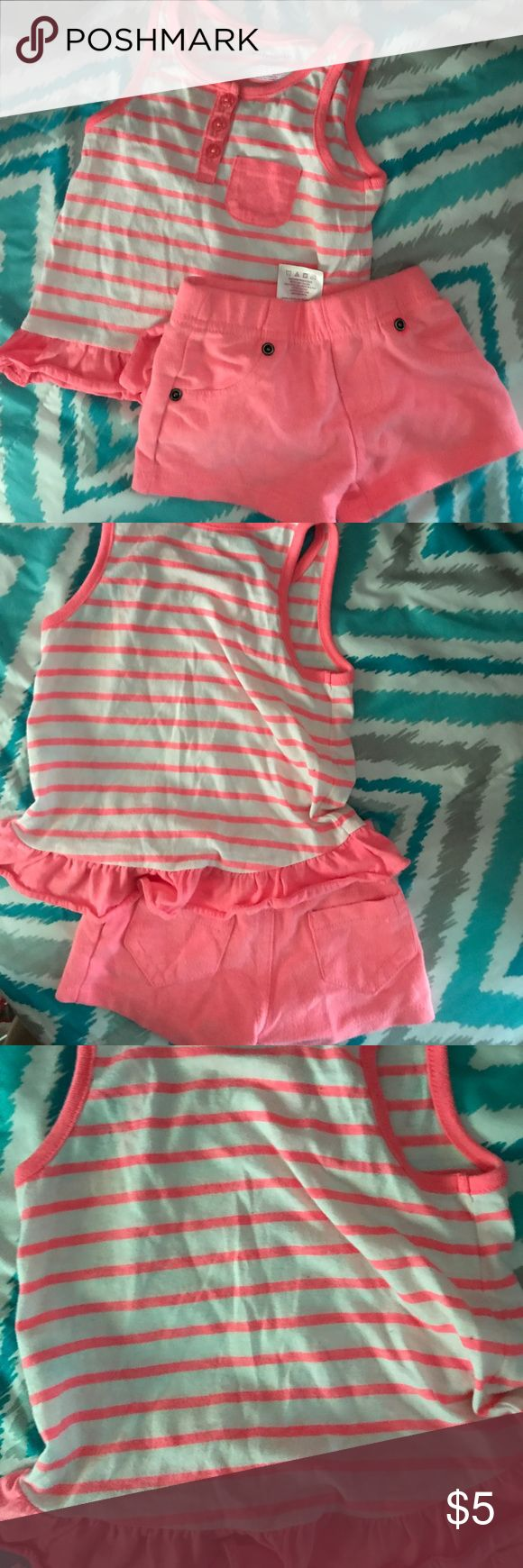 12 month garanimals Short set Has a little piling from the washer.(washed w/dreft and gentle)Please ask any questions, bundle for discounts, and make offers! If your offer isn't what I had in mine, I'll just send you counteroffer.  CHECK OUT MY CLOSET FOR WOMEN, MEN, AND CHILDREN CLOTHES; with name brands Such as VICTORIA SECRET - PINK  GUESS MICHAEL KORS COACH CHARLOTTE RUSSE(REFUGE) WET SEAL VOLCOM GYMBOREE DKNY EXPRESS CARTERS OSHKOSH MILEY CYRUS LOFT AMERICAN EAGLE HOLLISTER ANN TAYLOR…