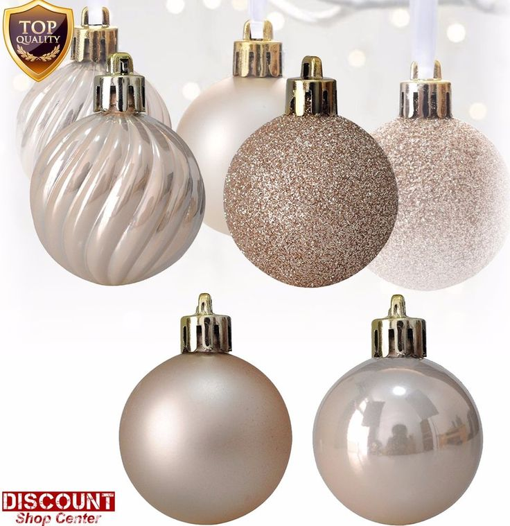 24Pack Champagne Christmas Ornaments Balls Set Tree Decorations Xmas Holiday New #KIStore