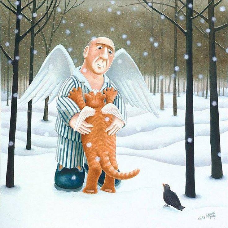 Смешные рисунки про ангелов, лестница гифка