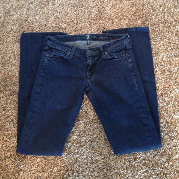 """Last chance!! Sevens jeans, size 27 Sevens jeans, size 27. In EUC, dark wash, style Flynt, inseam 32"""". Offers welcome!! 7 for all Mankind Jeans Boot Cut"""