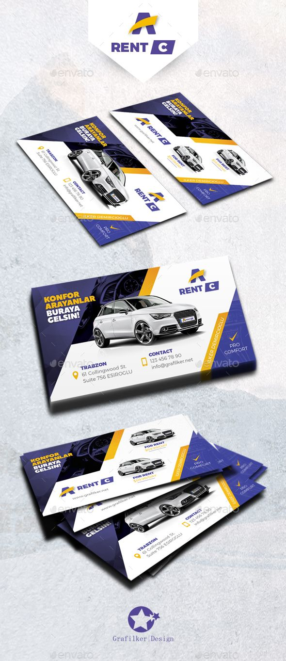 Rent A Car Business Card Templates — Photoshop PSD #limousine #rent a car • Available here → https://graphicriver.net/item/rent-a-car-business-card-templates/16245691?ref=pxcr