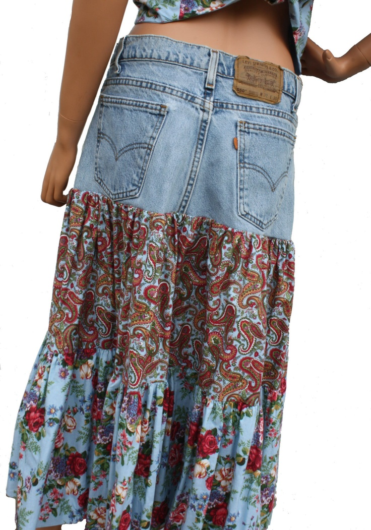 Custom Made Out of YOUR Own Jeans Upcycled Jeans Boho Gypsy Skirt Hippie Patchwork skirt Recycled Denim Skirt. $129.00, via Etsy.