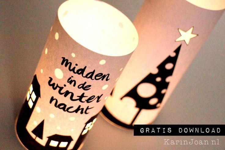 hele leuke kerstlichtjes, van papier en kaarsvet