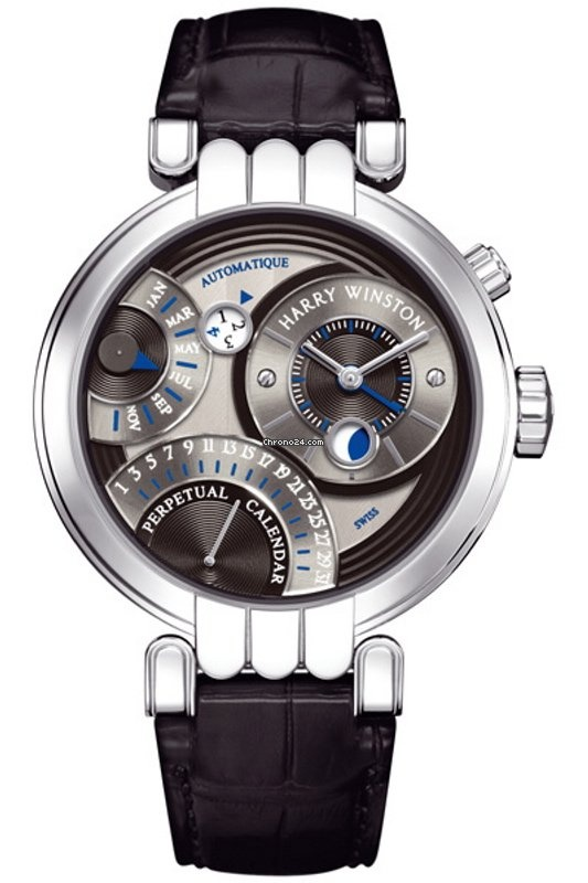 Harry Winston Premier Excenter Perpetual Calendar 2010 18kt white gold case with a high polished finish. Sub-dials are blackened silver & finished with a fine concentric circular pattern guilloche texture.