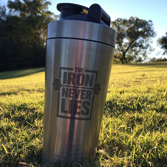 The iron never lies engraved stainless steel vacuum insulated protein shaker.  Double walled and insulated to hold ice for over 30 hours without sweating.  Our kitchen grade stainless steel bottle does not absorb odor! We can engrave with any logos, sayings, names, monograms and more!
