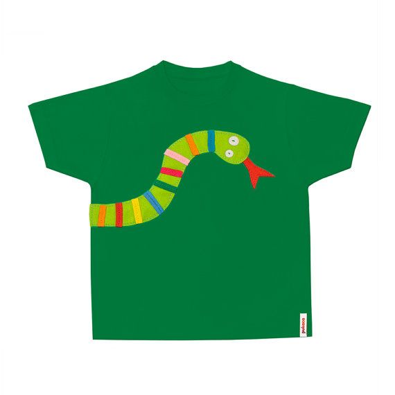 SNAKUS TShirt with felt applications by pukaca on Etsy