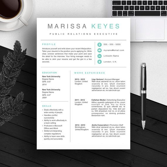 Creative Professional Resume Template   CV Template   Cover Letter   For MS Word / iWork   Instant Download   Modern Resume Design   Mac / Pc