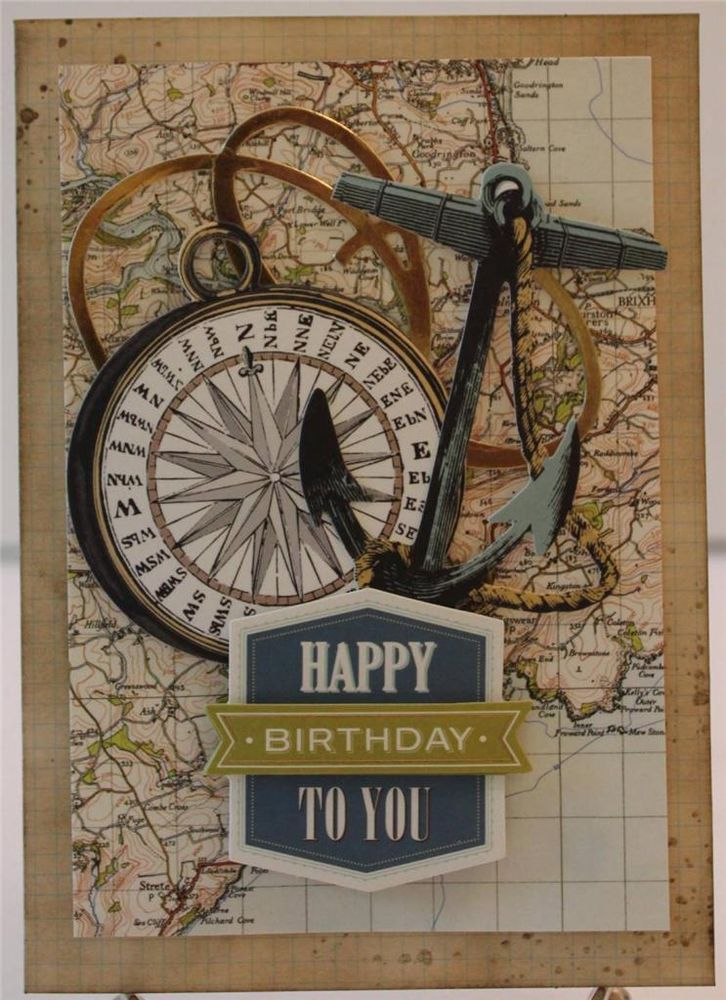 HAPPY  BIRTHDAY FOR HIM VINTAGE NAUTICAL HANDMADE GREETING CARD ANNA GRIFFIN #Birthday