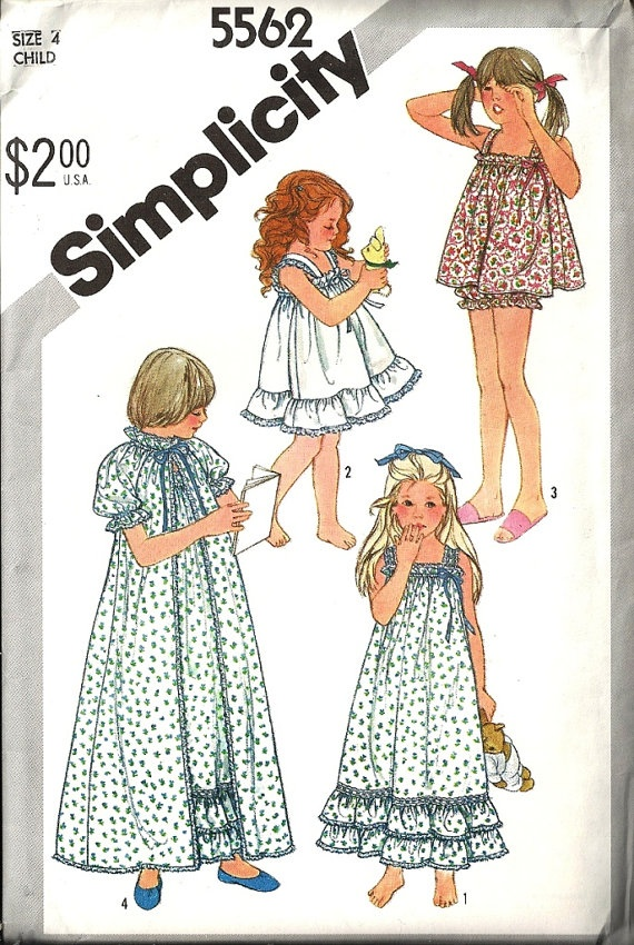 Simplicity 5562 Girls Baby Doll Pajamas Nightgown by patternmania, $5.95
