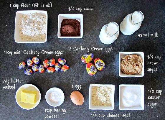 Cadbury Creme Egg self-saucing pudding ingredients