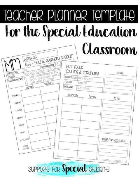 Teacher Planner Template for the Special Education