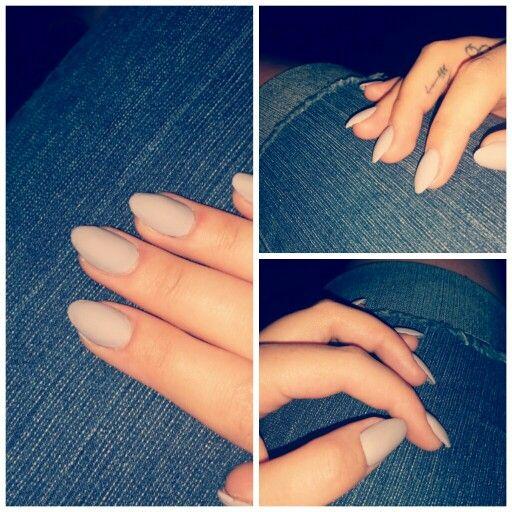 Matte Grey Nails. Almond shape