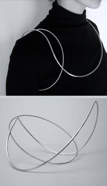 Wire Neckpiece - minimal line jewellery, conceptual jewellery design // Yuki Kamiya