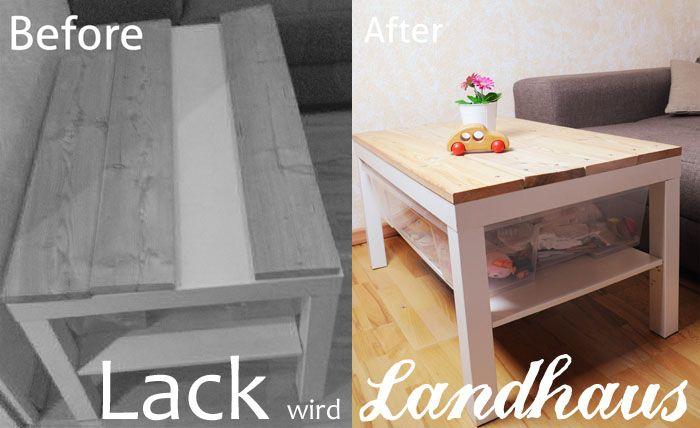 """Werbung: enthält *Werbelinks  Ich bekomme mit meinen Möbeln regelmäßig einen rappel und muss was ändern. Deswegen habe ich aus meinem normalo IKEA Tisch (Lack) durch wenige Veränderungen einen Landhaus Tisch gemacht.   Tisch zum """"Landhaus Tisch"""" umwandeln: Ihr braucht:  Einen Tisch (in meinem Fall ein LACK von Ikea) Bretter Spam Schrauben*"""
