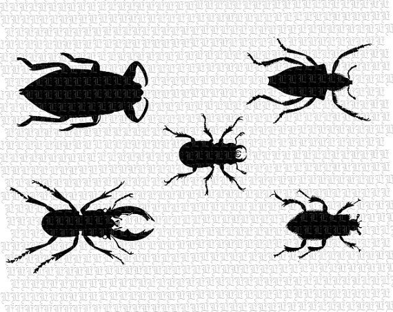 Beetles Silhouettes Digital Collage Sheet by luminariumgraphics, $2.95