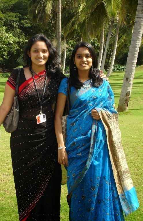 College Girls In Saree
