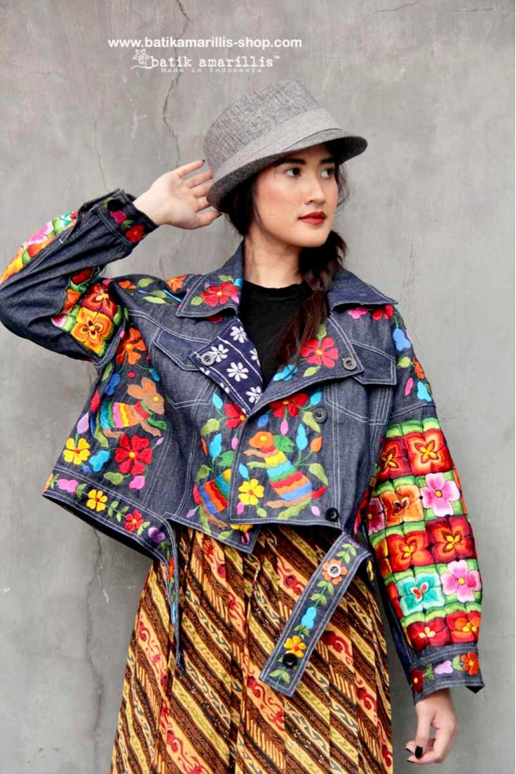 Batik Amarillis made in Indonesia www.batikamarillis-shop.com Batik Amarillis's Traveller Jacket part two , awesome freesize & oversize jacket which  features Mexican Embroidery inspired and tenun Gedog Tuban.