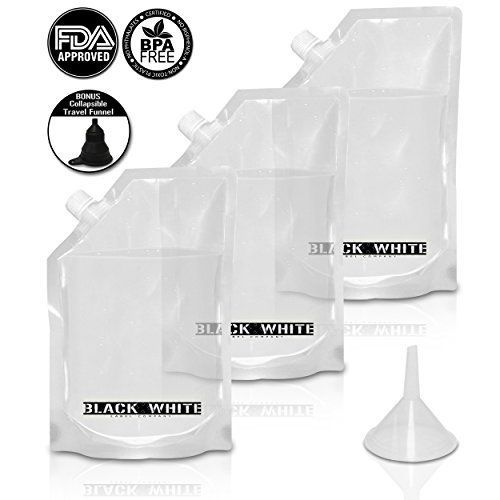 3 Black  White Label Premium Plastic Flasks  Liquor Rum Runner Cruise Kit Sneak Alcohol Drink Wine Pouch Bag Set Heavy Duty Reusable Concealable Flasks For Booze  Cocktails 3x32oz  Funnel *** Check this awesome product by going to the link at the image.