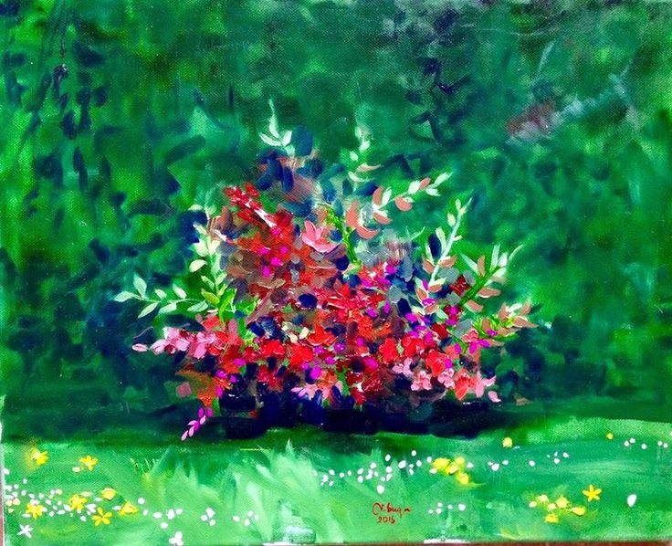 Art by Viorica Buga: In my Garden ,oil on canvas