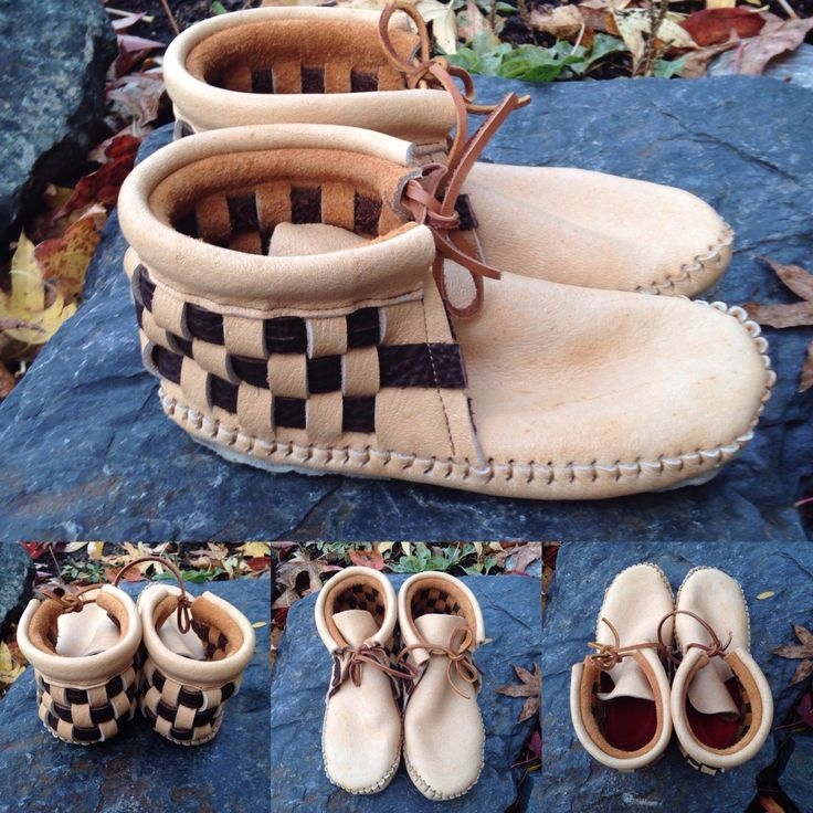 Woven moccasins for my son.